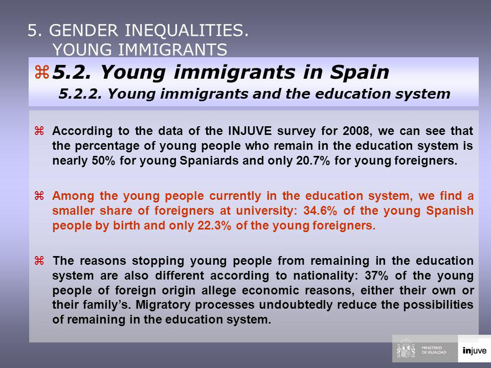 According to the data of the INJUVE survey for 2008, we can see that the percentage of young people who remain in the education system is nearly 50% for young Spaniards and only 20.7% for young foreigners.