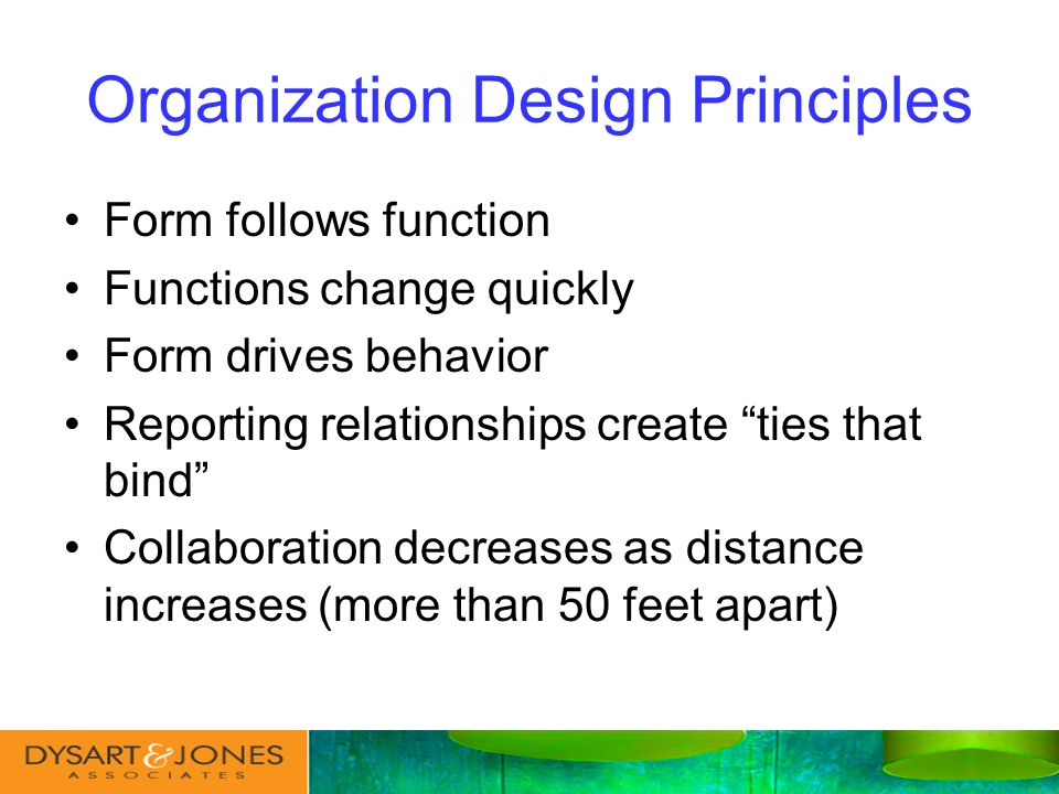 Form follows function Functions change quickly Form drives behavior Reporting relationships create ties that bind Collaboration decreases as distance increases (more than 50 feet apart) Organization Design Principles