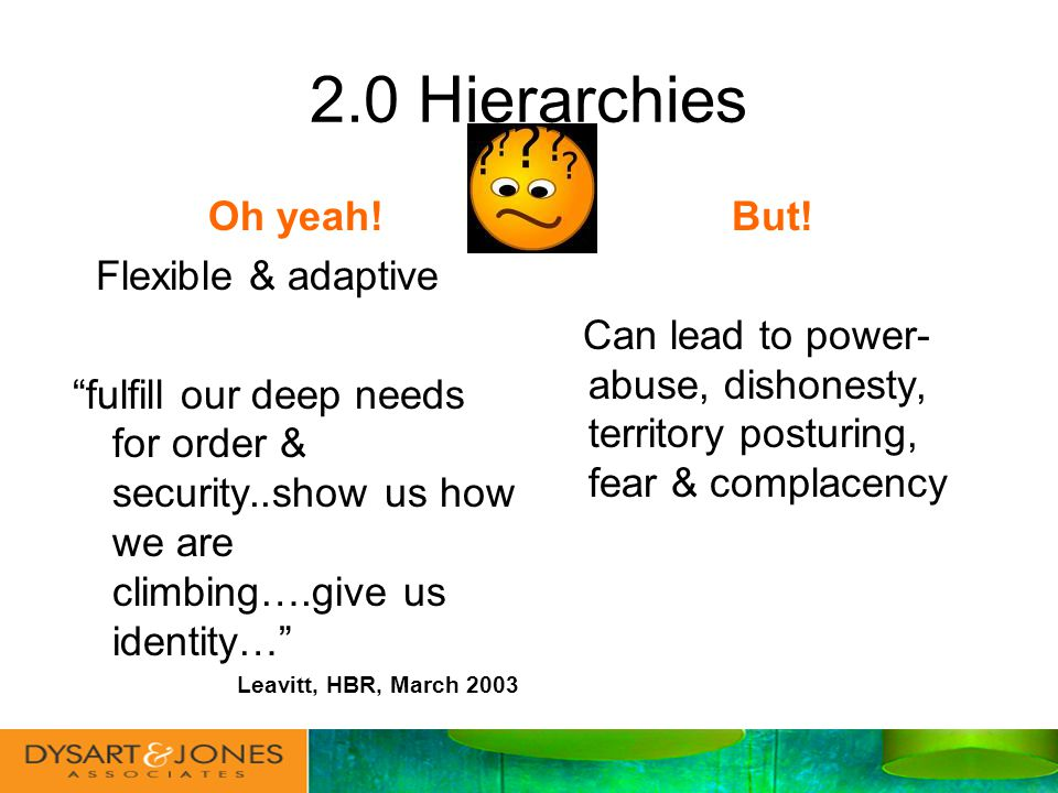2.0 Hierarchies Oh yeah.