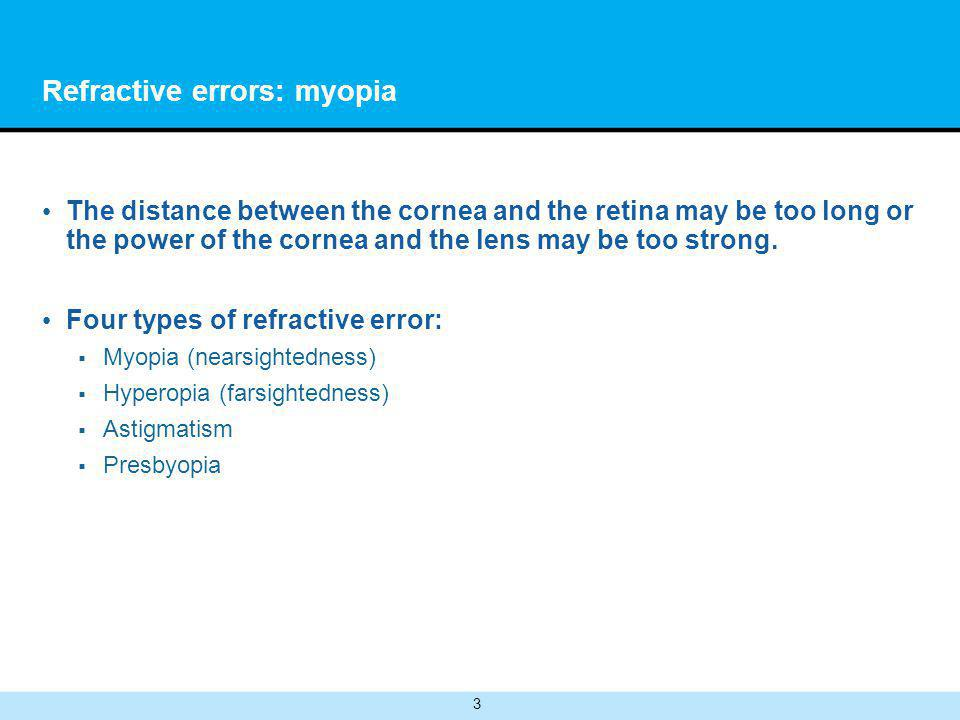 3 Refractive errors: myopia The distance between the cornea and the retina may be too long or the power of the cornea and the lens may be too strong.