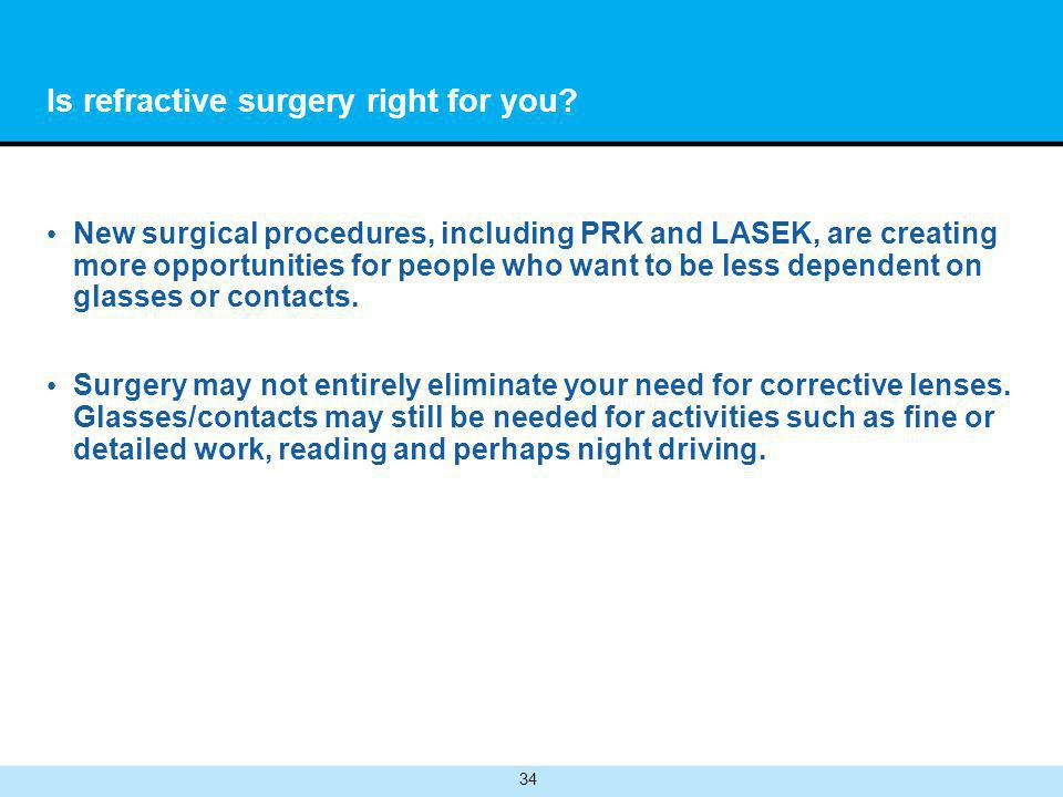 34 Is refractive surgery right for you.