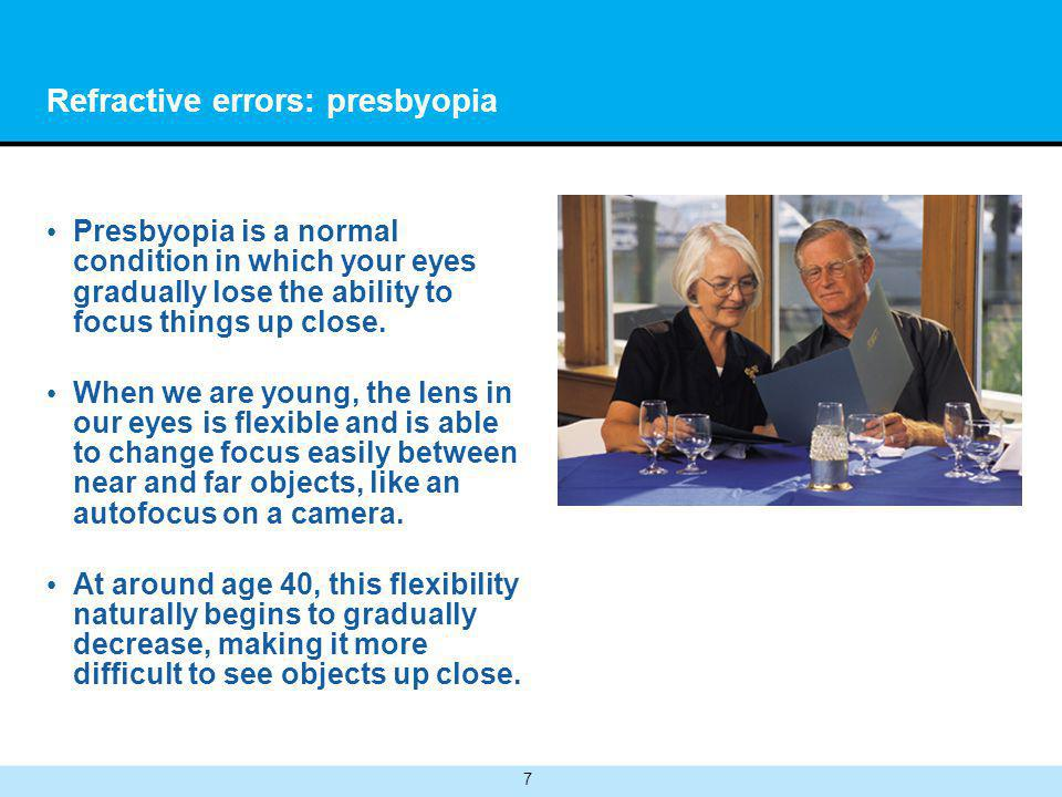 7 Refractive errors: presbyopia Presbyopia is a normal condition in which your eyes gradually lose the ability to focus things up close.
