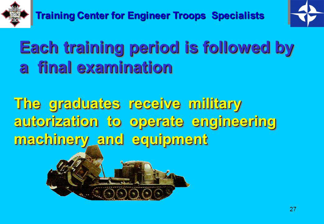26 Section commanders undergo training in a system of three training periods of four months each Training Center for Engineer Troops Specialists BasictrainingBasictrainingSpecializedtrainingSpecializedtraining One Onemonth Threemonths