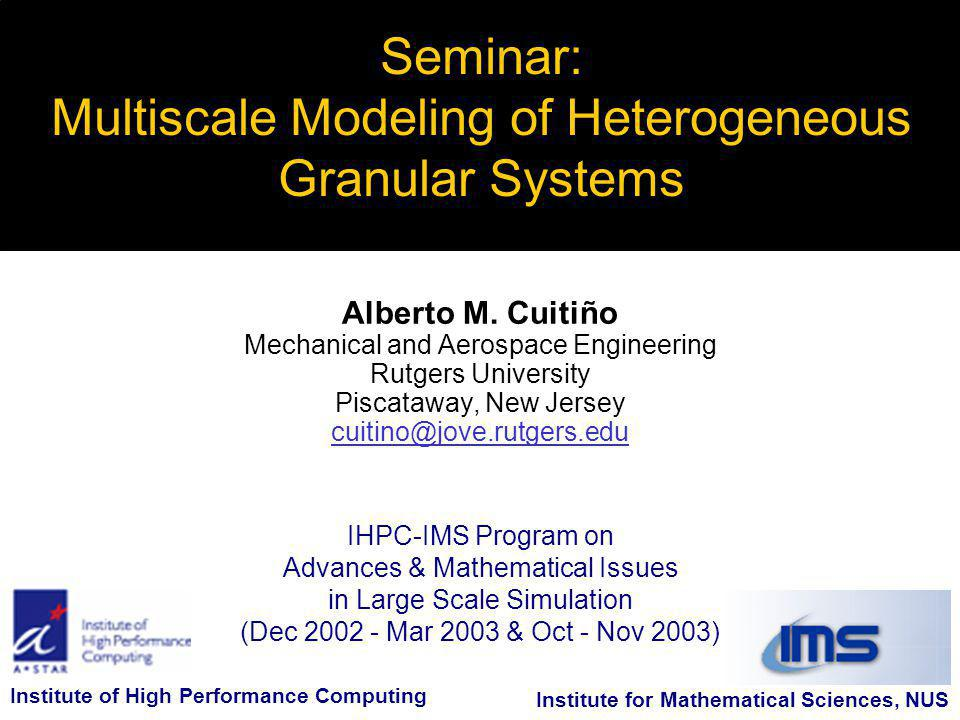 IHPC-IMS Program on Advances & Mathematical Issues in Large Scale Simulation (Dec 2002 - Mar 2003 & Oct - Nov 2003) Seminar: Multiscale Modeling of Heterogeneous Granular Systems Alberto M.
