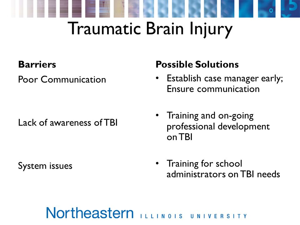 Traumatic Brain Injury BarriersPossible Solutions Poor Communication Lack of awareness of TBI System issues Establish case manager early; Ensure communication Training and on-going professional development on TBI Training for school administrators on TBI needs