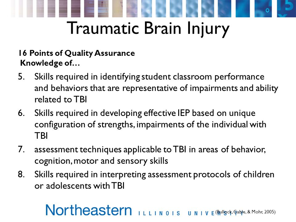 Traumatic Brain Injury 16 Points of Quality Assurance Knowledge of… 5.Skills required in identifying student classroom performance and behaviors that are representative of impairments and ability related to TBI 6.Skills required in developing effective IEP based on unique configuration of strengths, impairments of the individual with TBI 7.assessment techniques applicable to TBI in areas of behavior, cognition, motor and sensory skills 8.Skills required in interpreting assessment protocols of children or adolescents with TBI (Bullock, Gable, & Mohr, 2005)