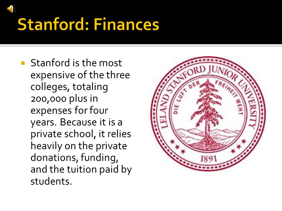 Stanford is the most expensive of the three colleges, totaling 200,000 plus in expenses for four years.