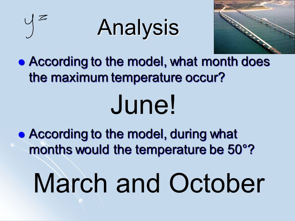 Analysis Analysis According to the model, what month does the maximum temperature occur.