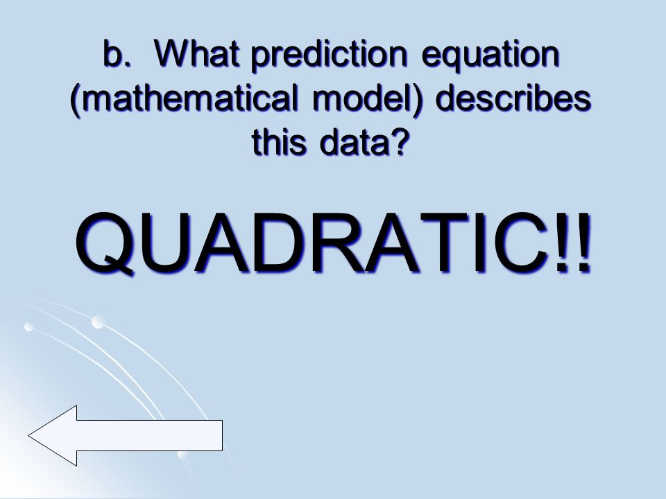 b. What prediction equation (mathematical model) describes this data QUADRATIC!!