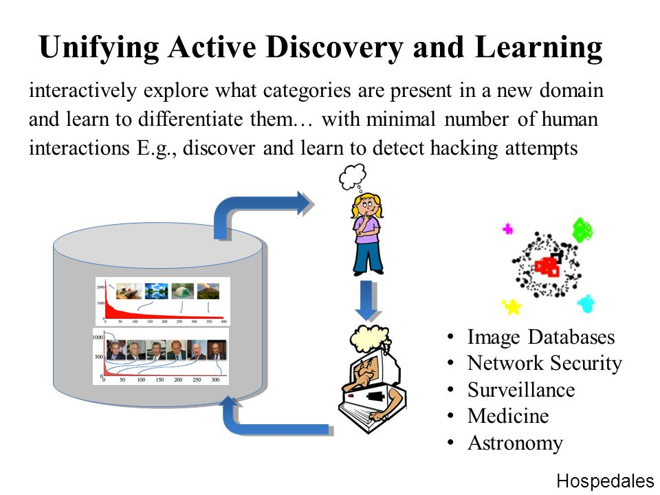 Unifying Active Discovery and Learning interactively explore what categories are present in a new domain and learn to differentiate them… with minimal number of human interactions E.g., discover and learn to detect hacking attempts Image Databases Network Security Surveillance Medicine Astronomy Hospedales