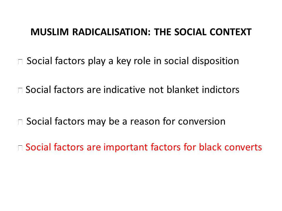MUSLIM RADICALISATION: THE SOCIAL CONTEXT Social factors are indicative not blanket indictors Social factors may be a reason for conversion Social factors are important factors for black converts Social factors play a key role in social disposition