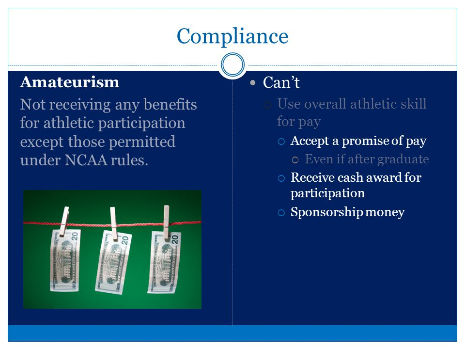 Compliance GAMBLING A wager is any agreement in which an individual or entity agrees to give up an item of value in exchange for the possibility of gaining another item of value.