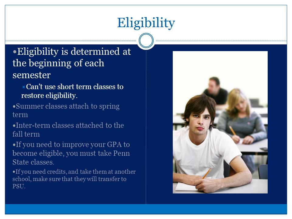 Eligibility Forms Must have valid physical (within one year) Participation Agreement Emergency Contact Information Sheet Affidavit of No Insurance Complete only if you have NO insurance Must be notarized Completed player information sheet NOTE: All forms must be complete and submitted before your eligibility will be certified.