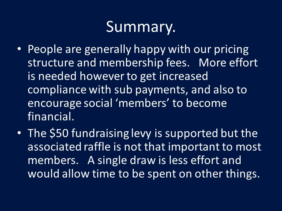 Summary. People are generally happy with our pricing structure and membership fees.