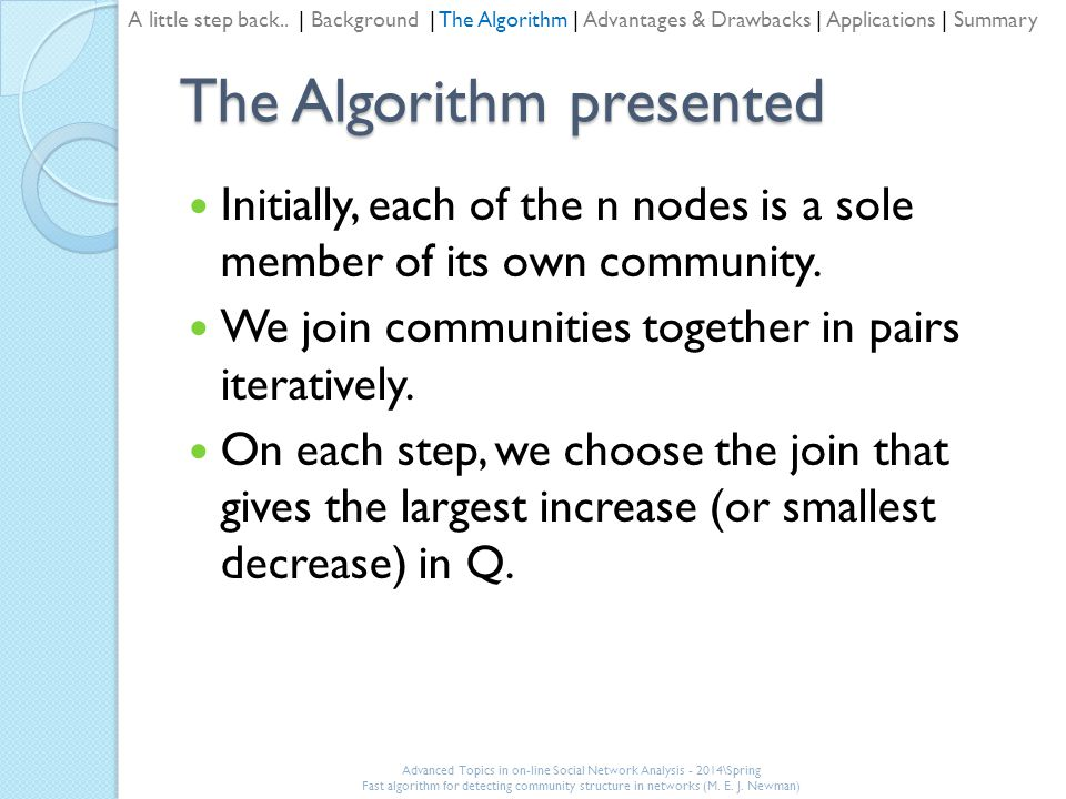 The Algorithm presented Initially, each of the n nodes is a sole member of its own community.