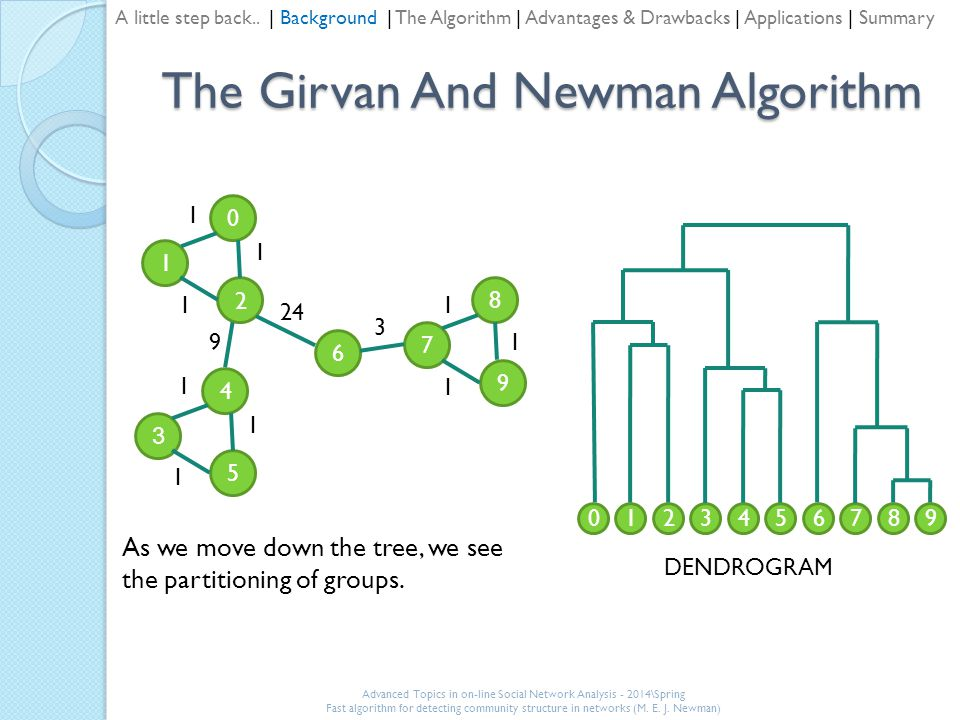 The Girvan And Newman Algorithm 1 0 2 3 4 5 7 8 9 6 24 9 3 1 1 1 1 1 1 1 1 1 0321458769 DENDROGRAM As we move down the tree, we see the partitioning of groups.