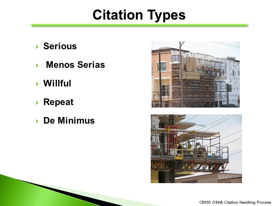 Citation Types Serious Menos Serias Willful Repeat De Minimus CB105 OSHA Citation Handling Process
