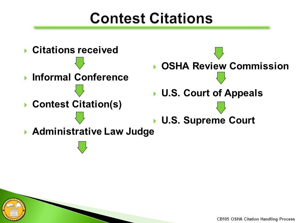 Citations received Informal Conference Contest Citation(s) Administrative Law Judge OSHA Review Commission U.S.
