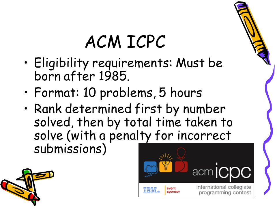 ACM ICPC Eligibility requirements: Must be born after 1985.