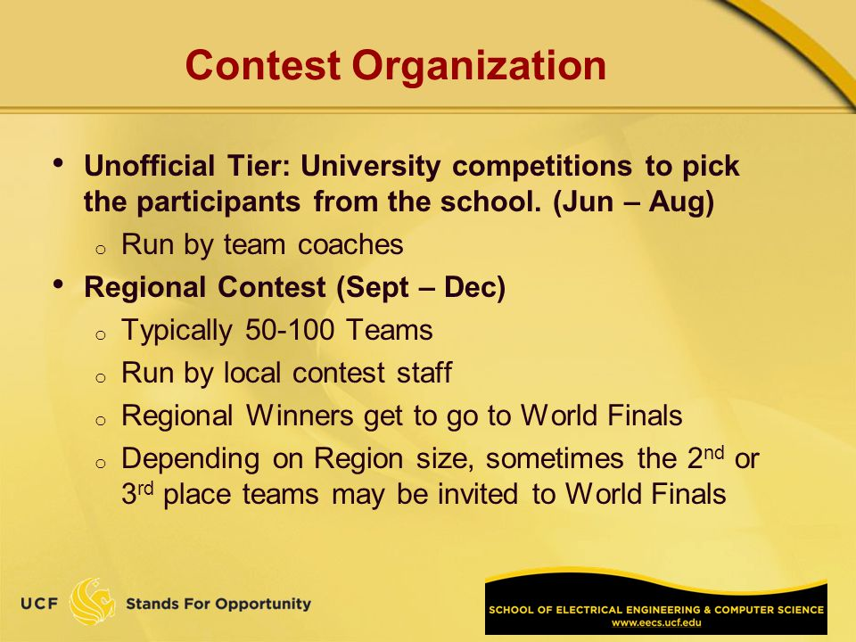 Contest Organization Unofficial Tier: University competitions to pick the participants from the school.
