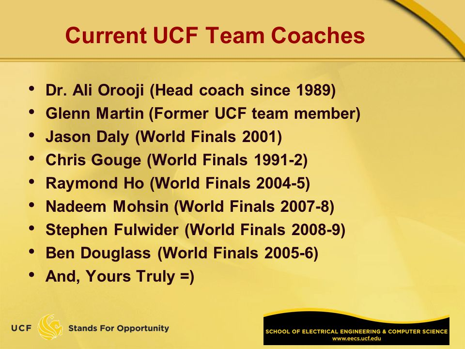 Current UCF Team Coaches Dr.