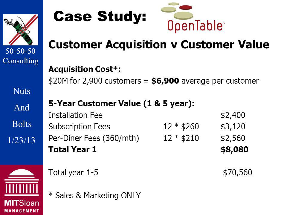 Nuts And Bolts 1/20/11 Nuts And Bolts 1/23/13 50-50-50 Consulting Case Study: Customer Acquisition v Customer Value Acquisition Cost*: $20M for 2,900 customers = $6,900 average per customer 5-Year Customer Value (1 & 5 year): Installation Fee$2,400 Subscription Fees12 * $260 $3,120 Per-Diner Fees (360/mth)12 * $210$2,560 Total Year 1$8,080 Total year 1-5 $70,560 * Sales & Marketing ONLY