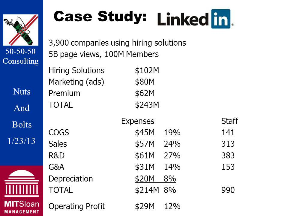 Nuts And Bolts 1/20/11 Nuts And Bolts 1/23/13 50-50-50 Consulting Case Study: 3,900 companies using hiring solutions 5B page views, 100M Members Hiring Solutions$102M Marketing (ads)$80M Premium $62M TOTAL$243M ExpensesStaff COGS$45M19%141 Sales$57M24%313 R&D$61M27%383 G&A$31M14%153 Depreciation$20M8% TOTAL$214M8%990 Operating Profit$29M12%