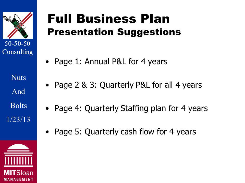 Nuts And Bolts 1/20/11 Nuts And Bolts 1/23/13 50-50-50 Consulting Full Business Plan Presentation Suggestions Page 1: Annual P&L for 4 years Page 2 & 3: Quarterly P&L for all 4 years Page 4: Quarterly Staffing plan for 4 years Page 5: Quarterly cash flow for 4 years