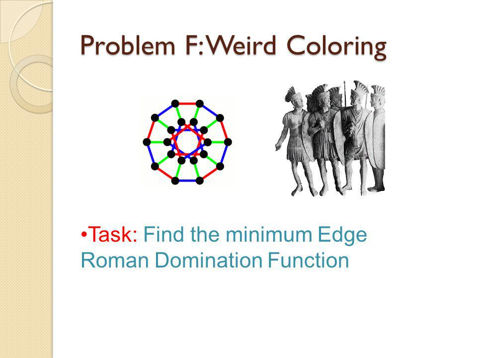 Problem F: Weird Coloring Task: Find the minimum Edge Roman Domination Function