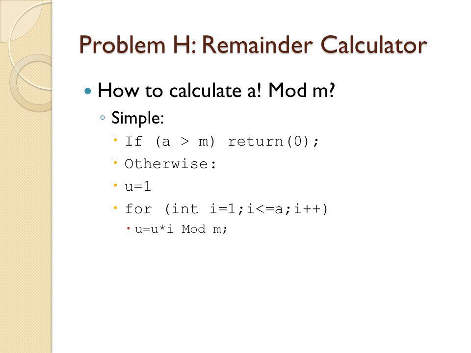 How to calculate a. Mod m.