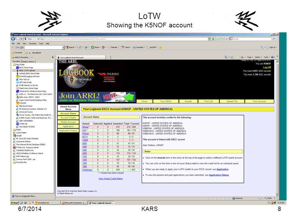 6/7/2014KARS8 LoTW Showing the K5NOF account