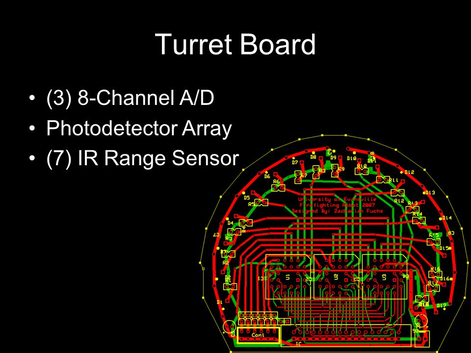 Turret Board (3) 8-Channel A/D Photodetector Array (7) IR Range Sensor