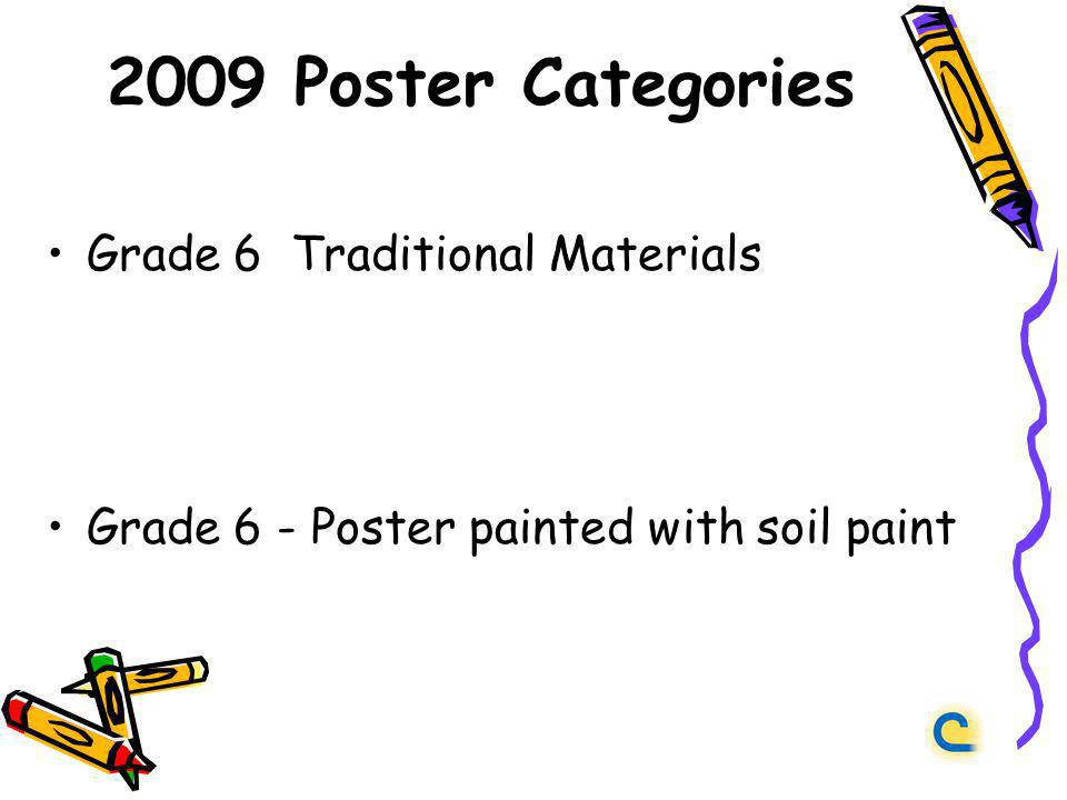2009 Poster Categories Grade 6 Traditional Materials Grade 6 - Poster painted with soil paint