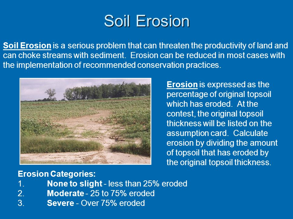 Soil Erosion Erosion is expressed as the percentage of original topsoil which has eroded.
