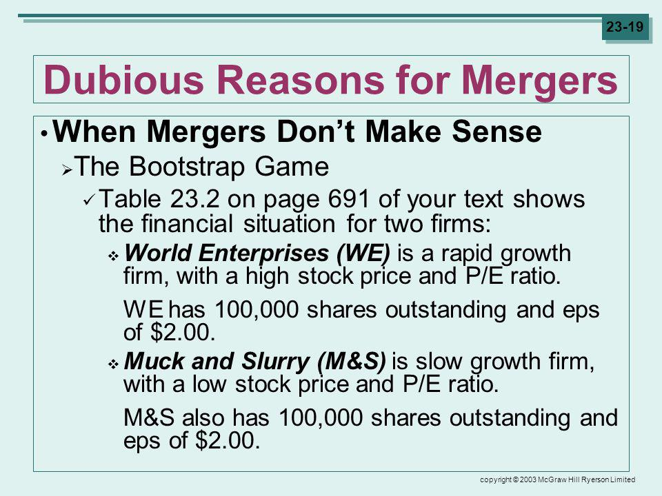 copyright © 2003 McGraw Hill Ryerson Limited 23-19 Dubious Reasons for Mergers When Mergers Dont Make Sense The Bootstrap Game Table 23.2 on page 691 of your text shows the financial situation for two firms: World Enterprises (WE) is a rapid growth firm, with a high stock price and P/E ratio.