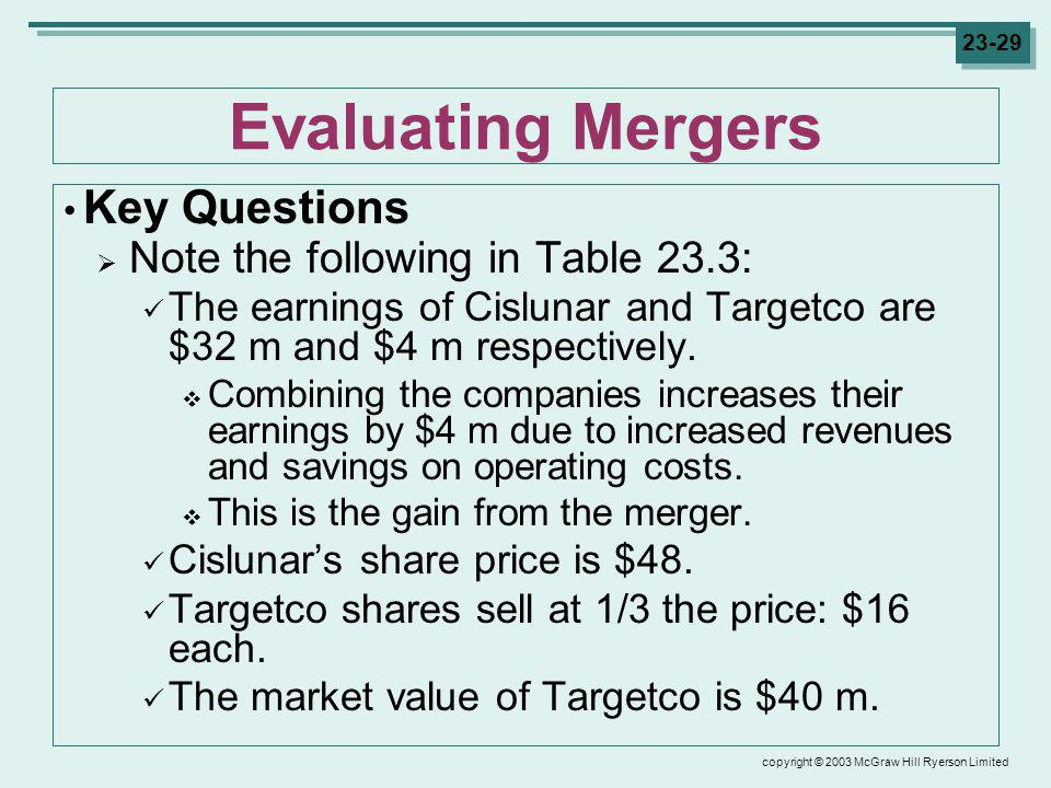 copyright © 2003 McGraw Hill Ryerson Limited 23-29 Evaluating Mergers Key Questions Note the following in Table 23.3: The earnings of Cislunar and Targetco are $32 m and $4 m respectively.