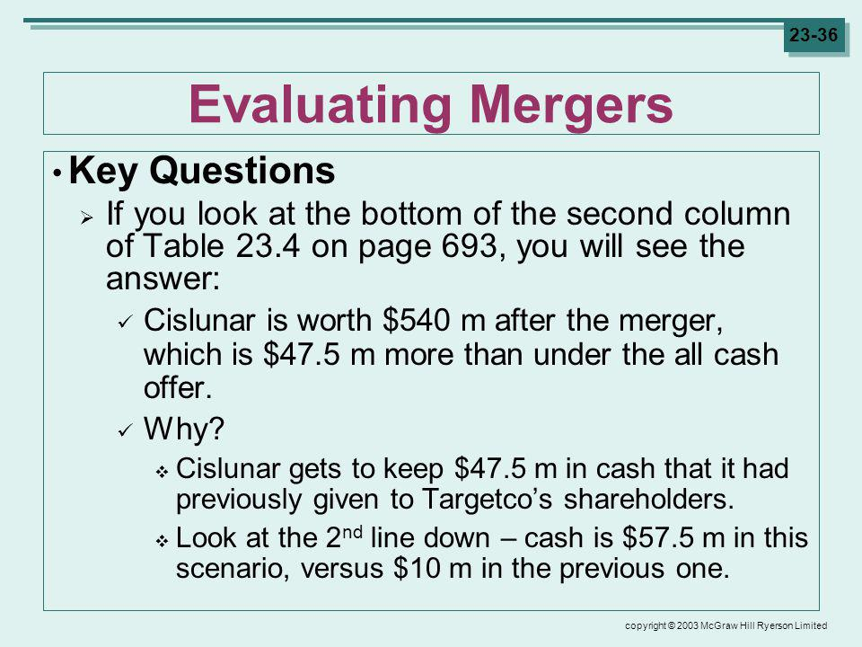 copyright © 2003 McGraw Hill Ryerson Limited 23-36 Evaluating Mergers Key Questions If you look at the bottom of the second column of Table 23.4 on page 693, you will see the answer: Cislunar is worth $540 m after the merger, which is $47.5 m more than under the all cash offer.