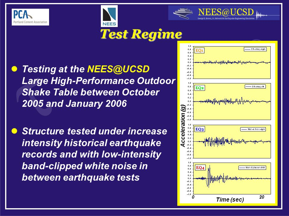 Test Regime Testing at the NEES@UCSD Large High-Performance Outdoor Shake Table between October 2005 and January 2006 Structure tested under increase intensity historical earthquake records and with low-intensity band-clipped white noise in between earthquake tests Time (sec) Acceleration (g) 0 20