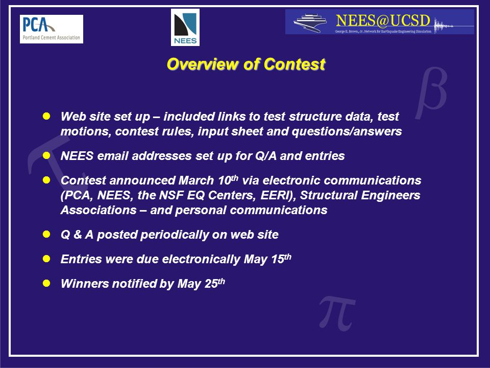 Overview of Contest Web site set up – included links to test structure data, test motions, contest rules, input sheet and questions/answers NEES email addresses set up for Q/A and entries Contest announced March 10 th via electronic communications (PCA, NEES, the NSF EQ Centers, EERI), Structural Engineers Associations – and personal communications Q & A posted periodically on web site Entries were due electronically May 15 th Winners notified by May 25 th