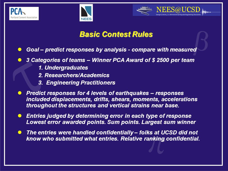 Basic Contest Rules Goal – predict responses by analysis - compare with measured 3 Categories of teams – Winner PCA Award of $ 2500 per team 1.