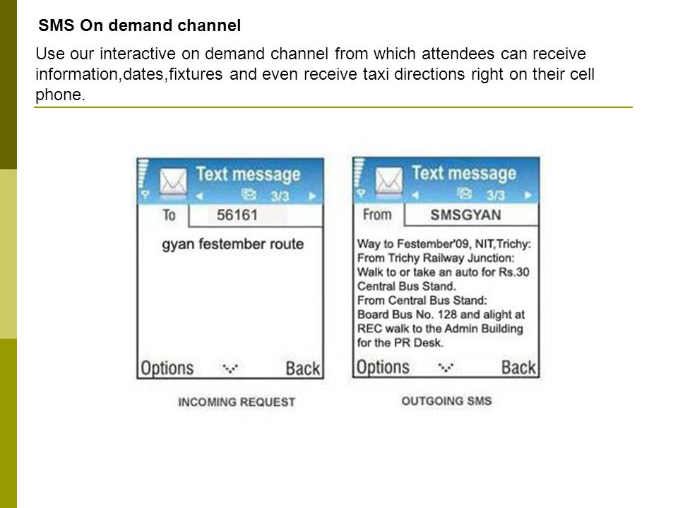 SMS On demand channel Use our interactive on demand channel from which attendees can receive information,dates,fixtures and even receive taxi directions right on their cell phone.