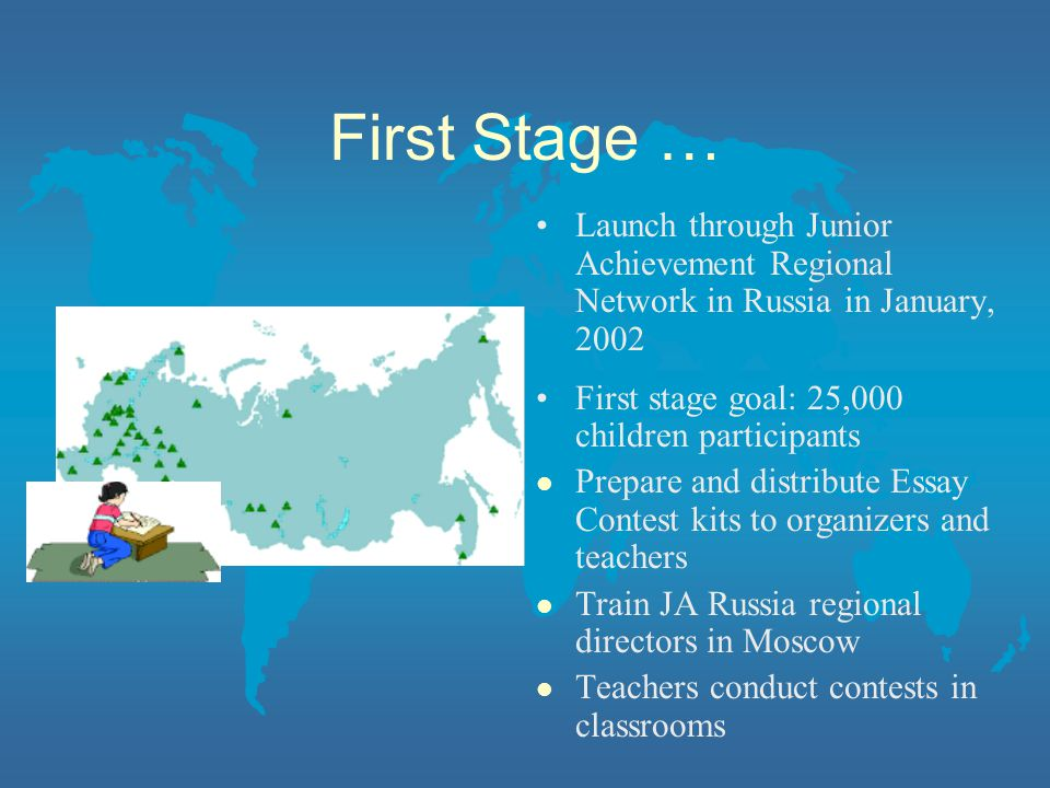 First Stage … Launch through Junior Achievement Regional Network in Russia in January, 2002 First stage goal: 25,000 children participants l Prepare and distribute Essay Contest kits to organizers and teachers l Train JA Russia regional directors in Moscow l Teachers conduct contests in classrooms