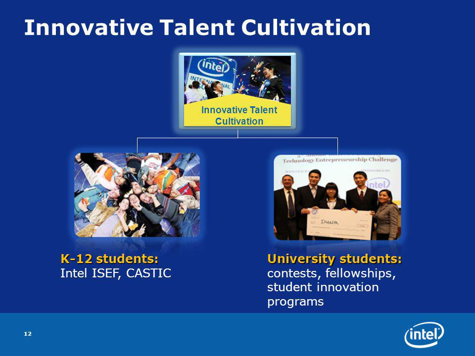 Innovative Talent Cultivation 12 K-12 students: Intel ISEF, CASTIC University students: University students: contests, fellowships, student innovation programs Innovative Talent Cultivation