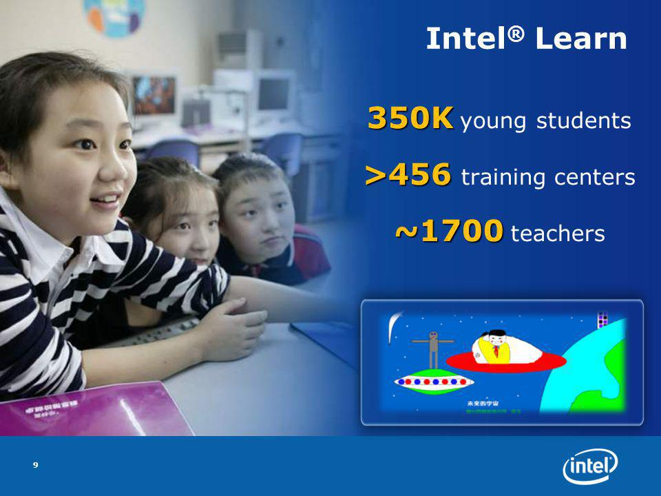Intel ® Learn 350K 350K young students >456 >456 training centers ~1700 ~1700 teachers 9