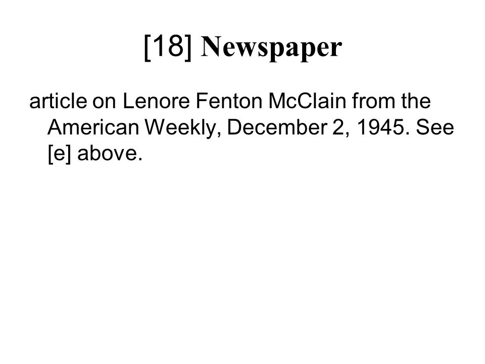 [18] Newspaper article on Lenore Fenton McClain from the American Weekly, December 2, 1945.