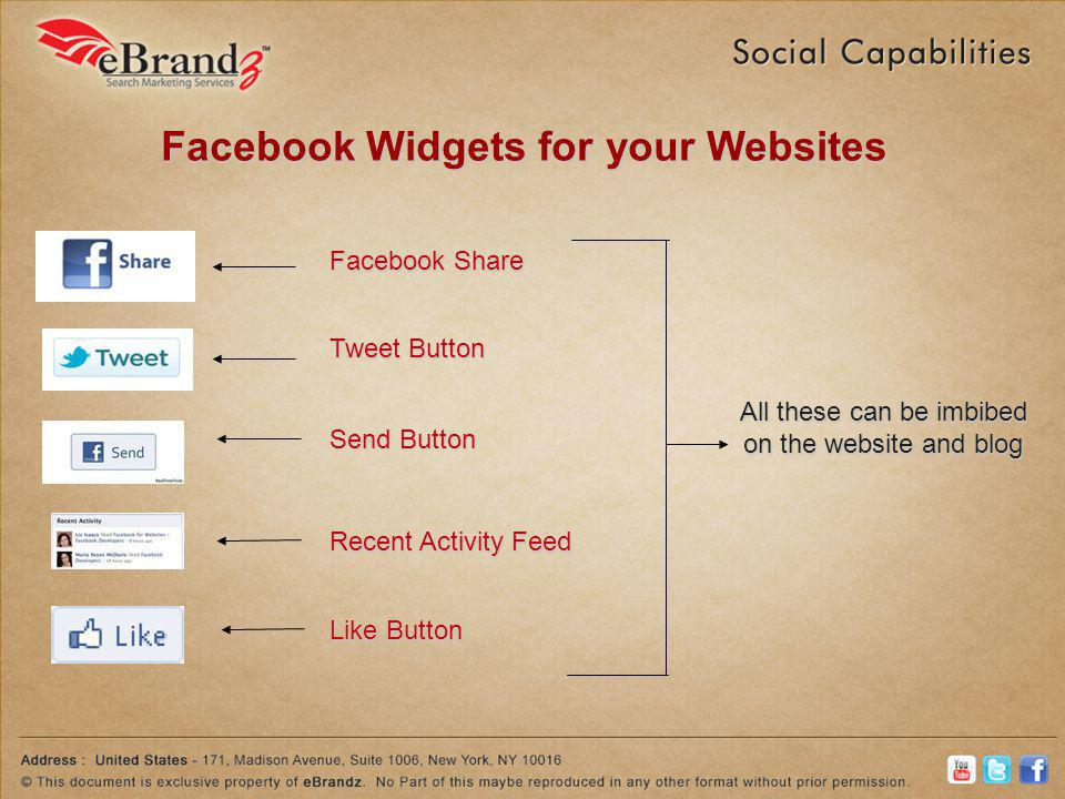 Facebook Widgets for your Websites Facebook Share Tweet Button Recent Activity Feed Send Button Like Button All these can be imbibed on the website and blog