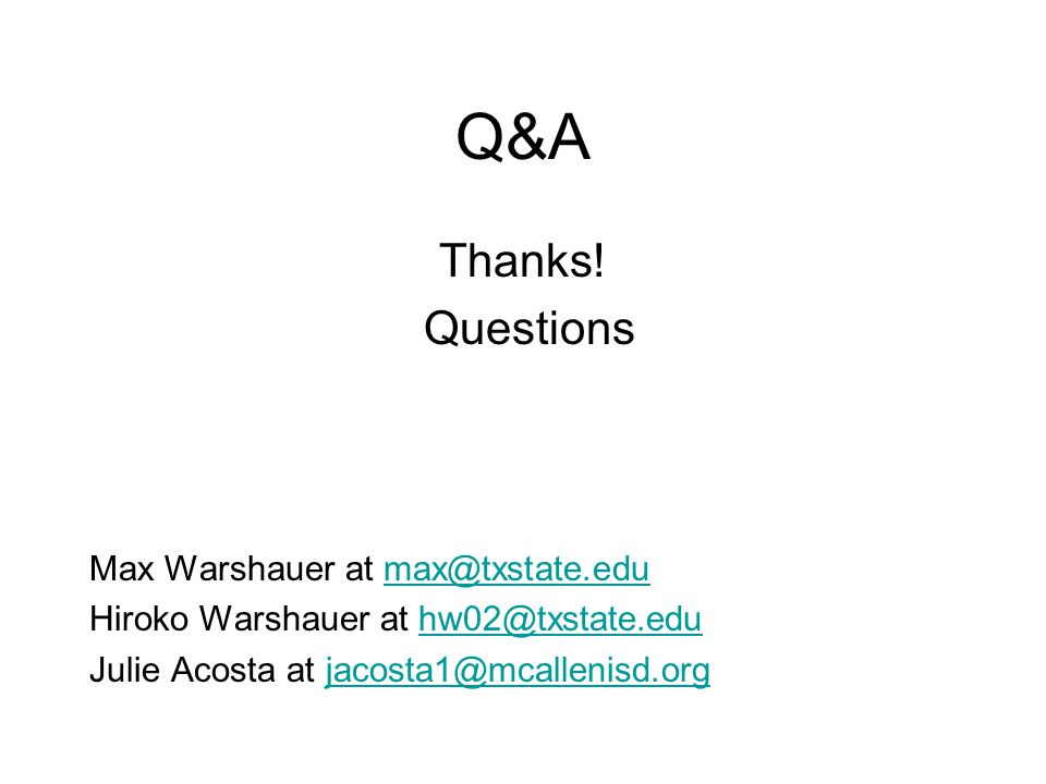 Q&A Thanks.