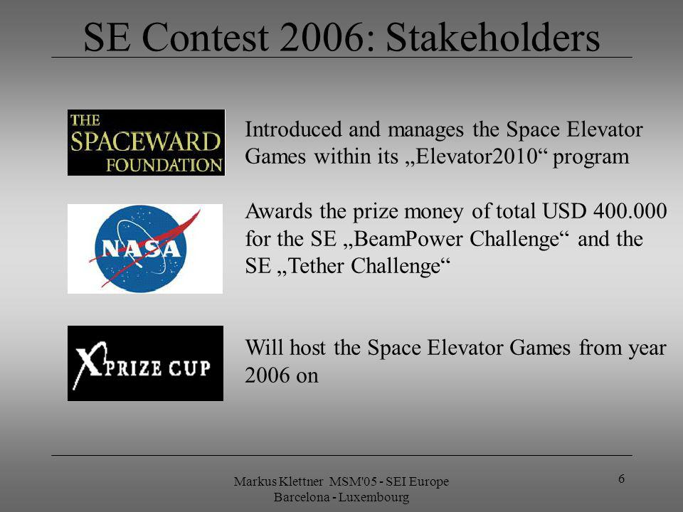Markus Klettner MSM 05 - SEI Europe Barcelona - Luxembourg 6 SE Contest 2006: Stakeholders Introduced and manages the Space Elevator Games within its Elevator2010 program Awards the prize money of total USD 400.000 for the SE BeamPower Challenge and the SE Tether Challenge Will host the Space Elevator Games from year 2006 on