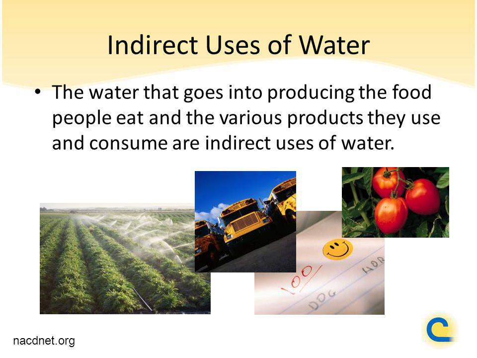 Indirect Uses of Water The water that goes into producing the food people eat and the various products they use and consume are indirect uses of water.