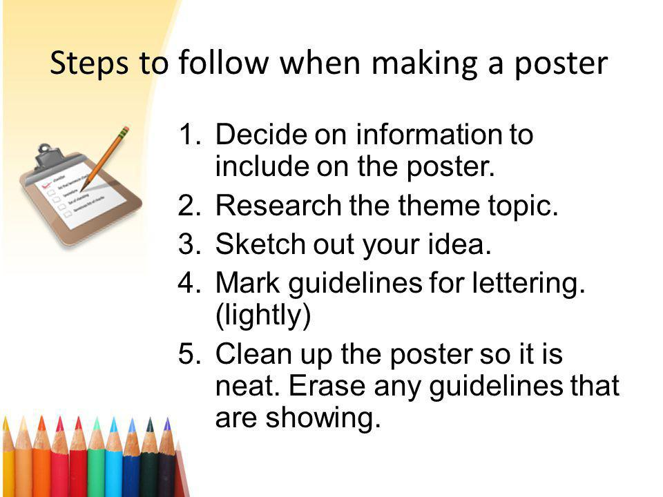 Steps to follow when making a poster 1.Decide on information to include on the poster.